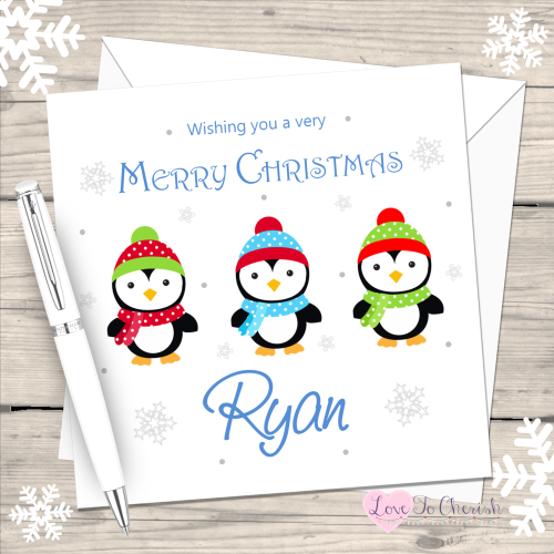 Penguin Boys Handmade Christmas Card