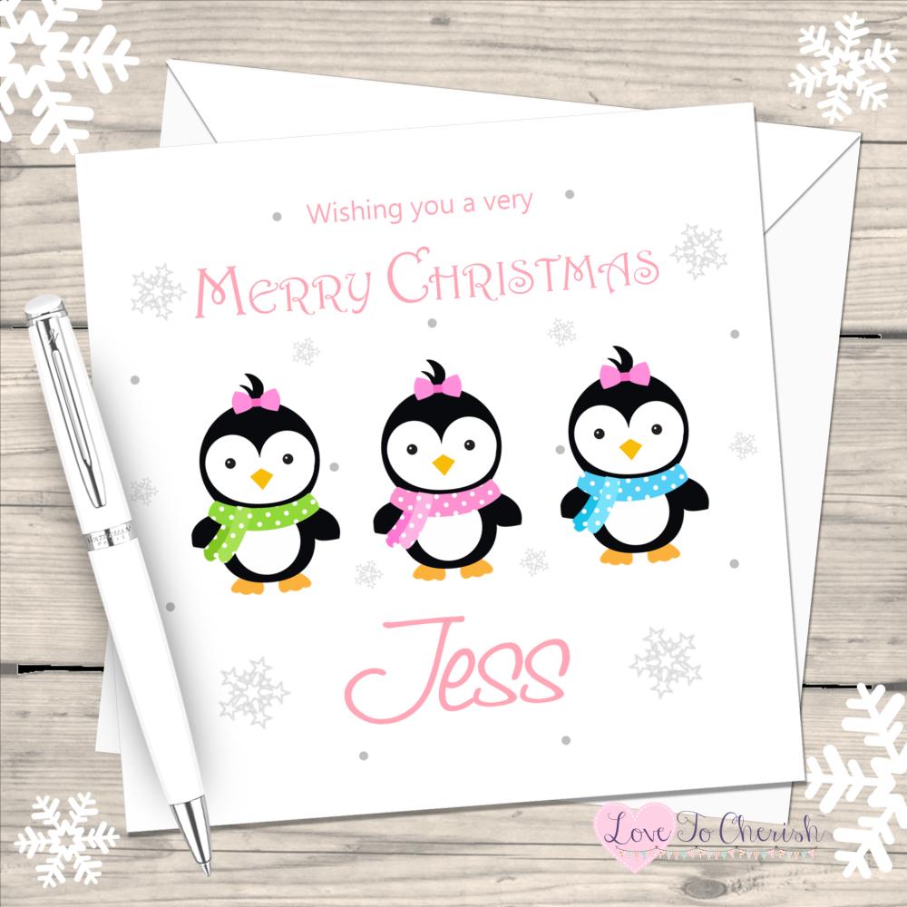 Penguin Girls Handmade Christmas Card