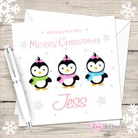 Penguin Girls Personalised Christmas Card