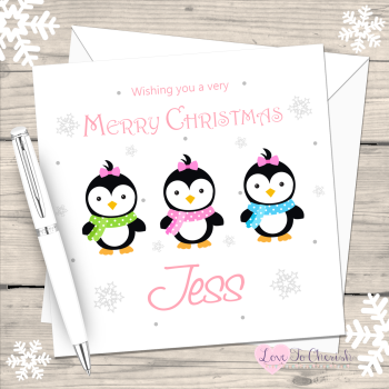 Penguin Girls Personalised Christmas Card