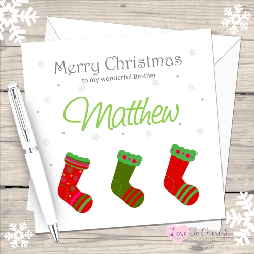 Red & Green Stockings Handmade Christmas Card
