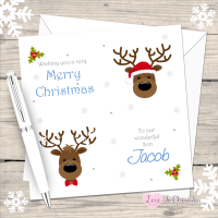 Reindeer Boys Personalised Christmas Card
