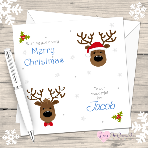 Reindeer Boys Handmade Christmas Card