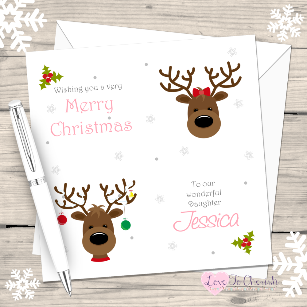 Reindeer Girls Handmade Christmas Card