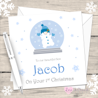 Snowboy in Snowglobe Personalised Christmas Card
