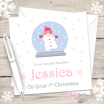 Snowgirl in Snowglobe Personalised Christmas Card