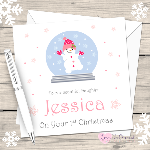 Snowgirl in Snowglobe Handmade Christmas Card