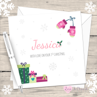 Girl's Pink Mittens Personalised 1st Christmas Card