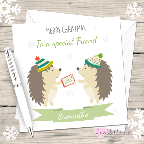 Winter Hedgehogs Special Friend Personalised Christmas Card