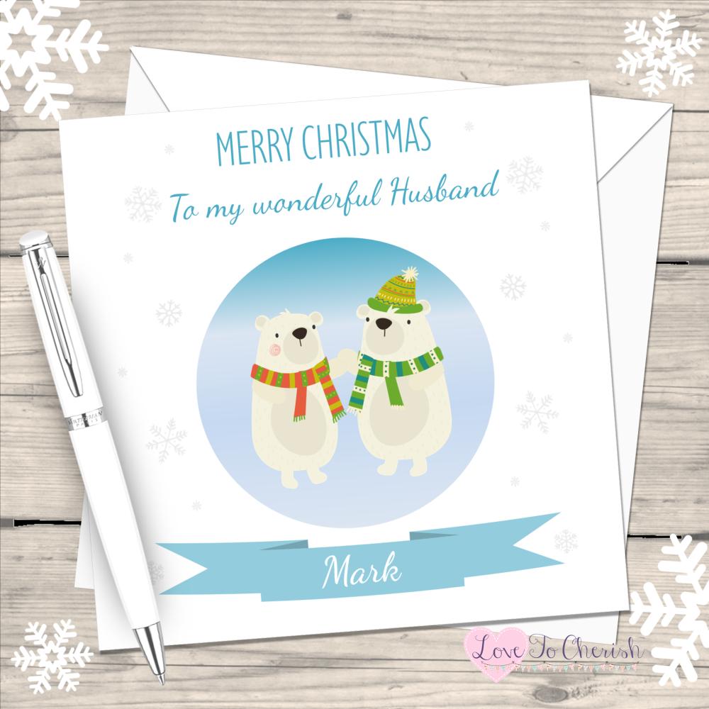 Polar Bears Husband Personalised Christmas Card