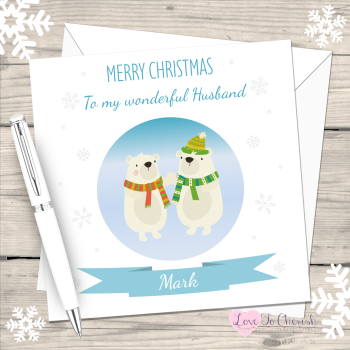 Polar Bears Husband Personalised Christmas Card
