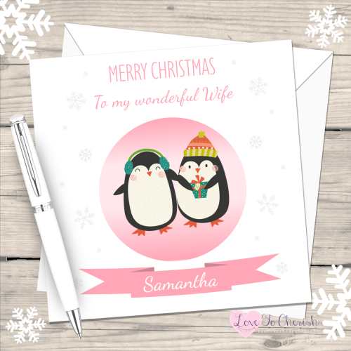 Penguins Wife Personalised Christmas Card