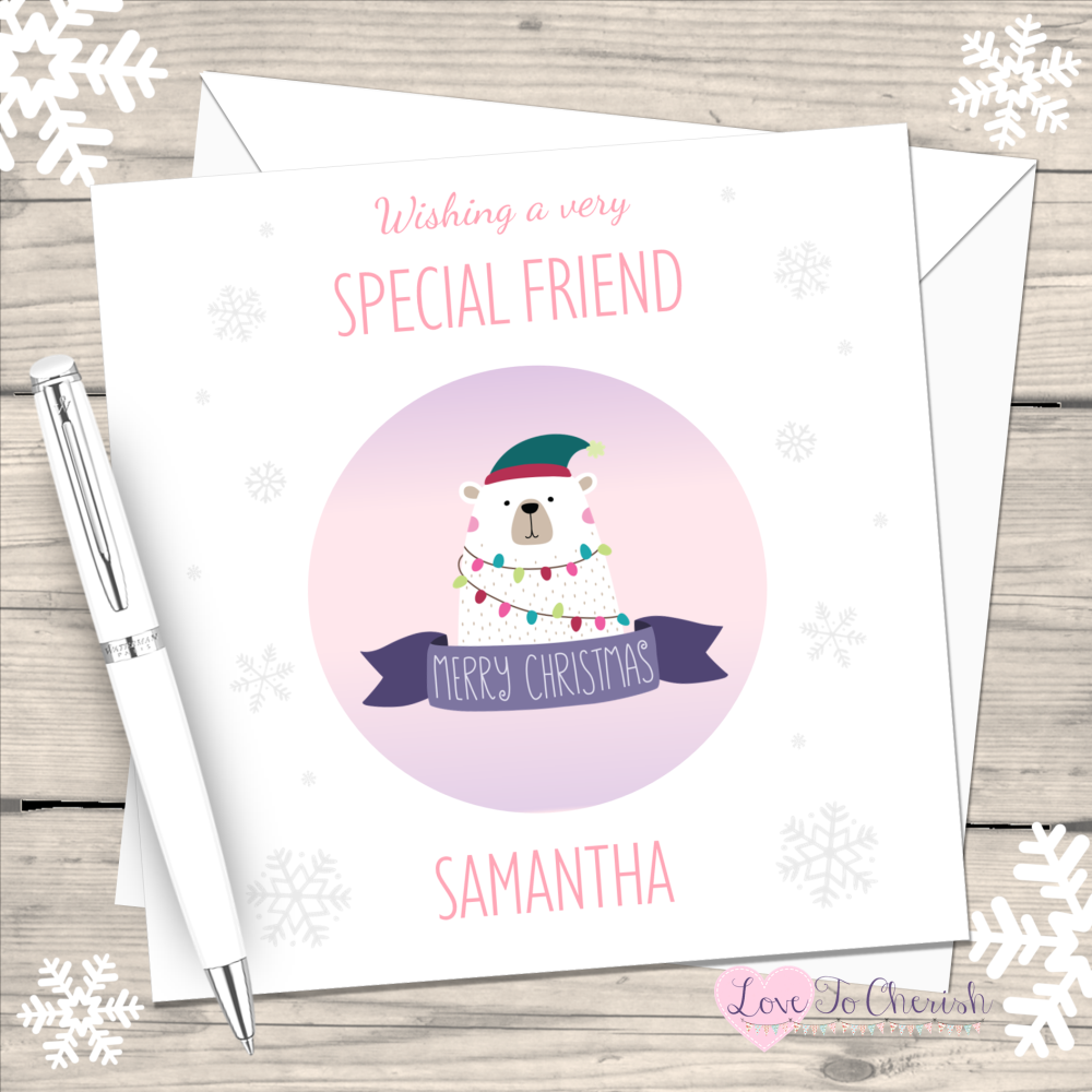 Polar Bear Special Friend Personalised Christmas Card