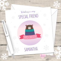 Brown Bear Special Friend Personalised Christmas Card