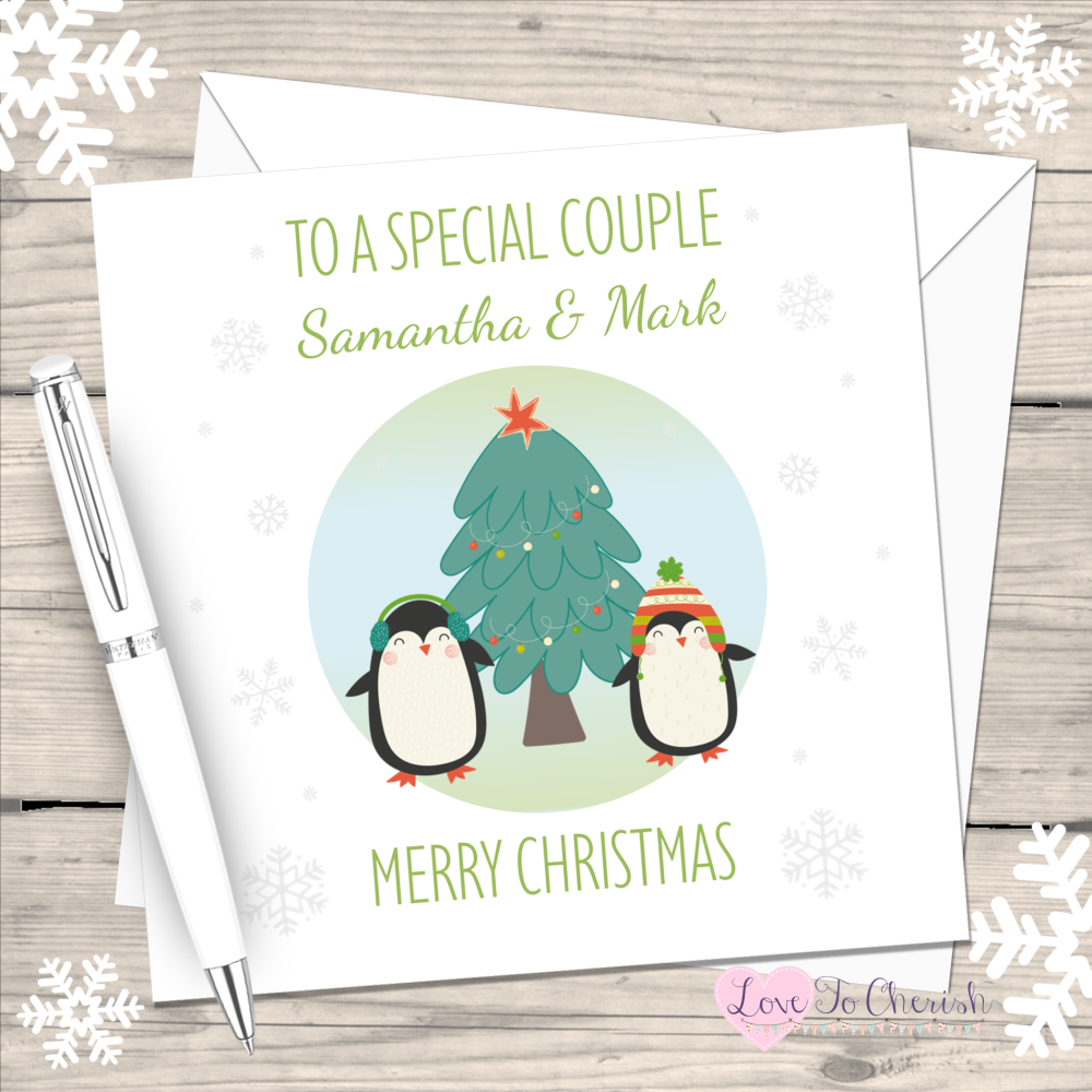 Cute Penguins Special Couple Personalised Christmas Card