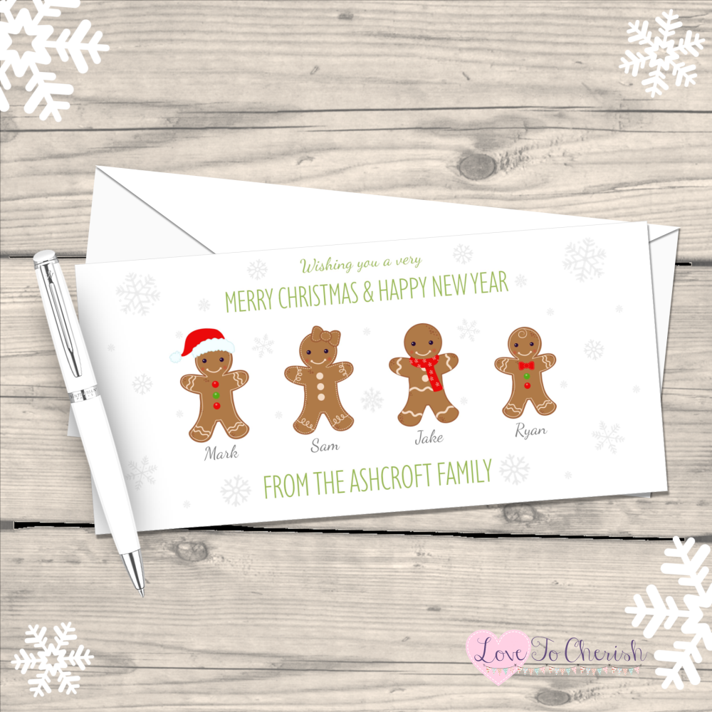 </001>Gingerbread Personalised Family  Christmas Cards