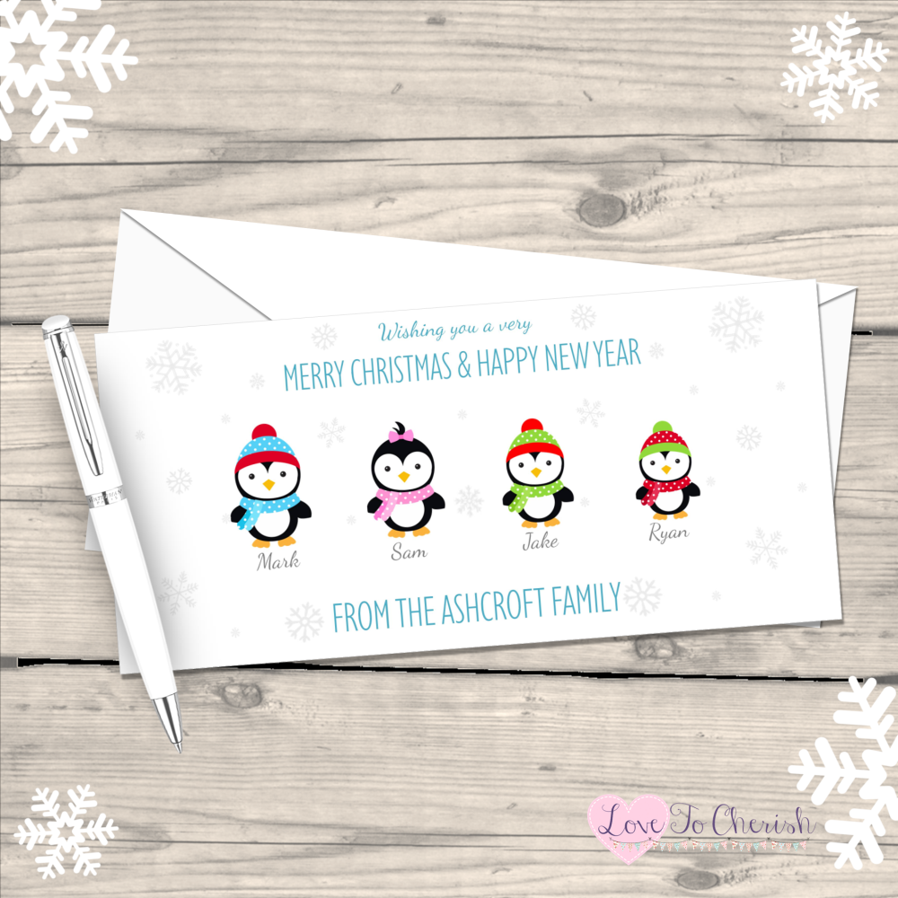 </002>Penguin Personalised Family  Christmas Cards