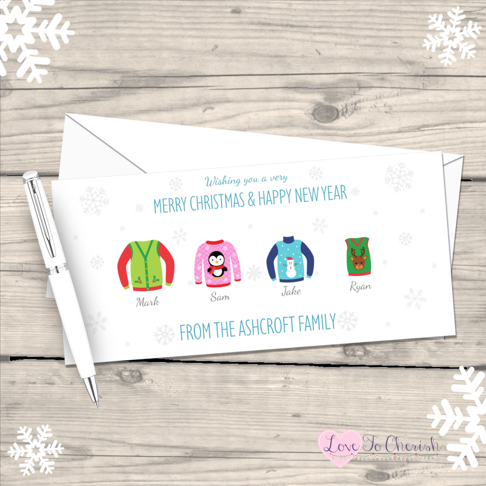 </003>Jumpers/Sweaters Personalised Family  Christmas Cards