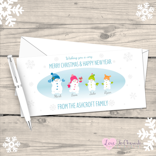 </007>Snowboys and Snowgirls Personalised Family  Christmas Cards