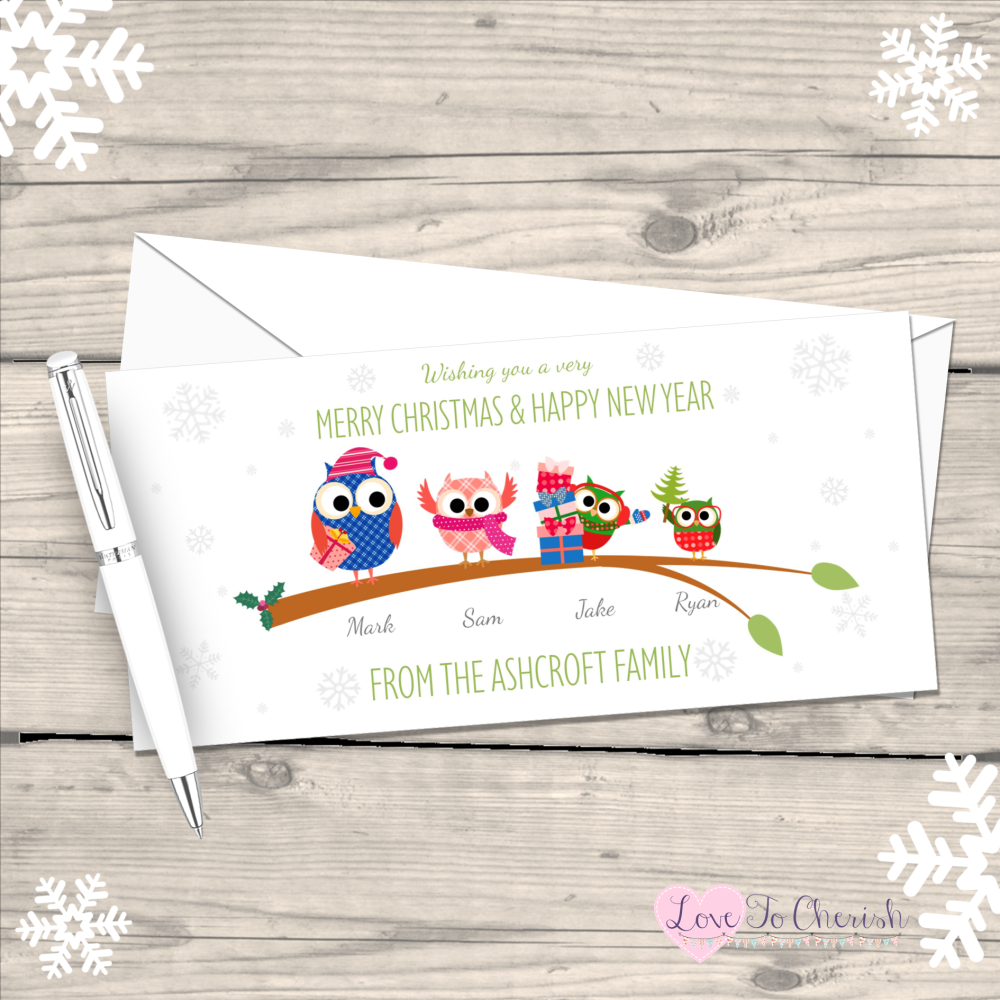 </001>Owls Personalised Family Christmas Cards