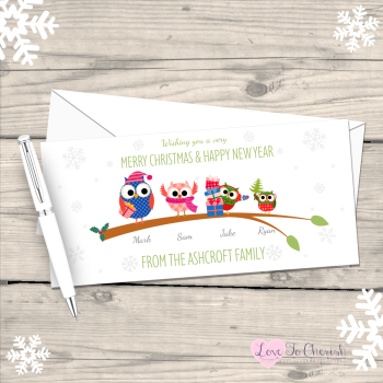 Owls Personalised Family Christmas Cards