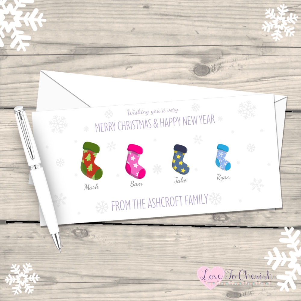 </008>Stockings Personalised Family Christmas Cards