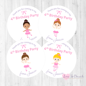 Ballerina Personalised Birthday Party Stickers
