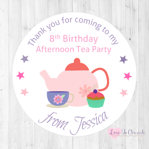Afternoon Tea Personalised Birthday Party Stickers | Love To Cherish