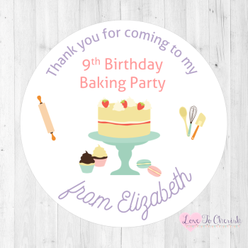 Baking Party Personalised Birthday Stickers