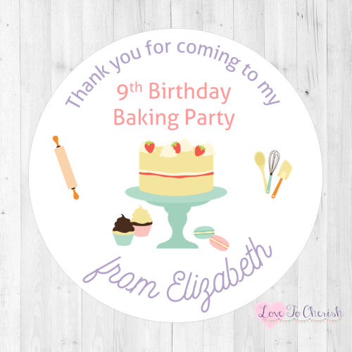 Baking Party Personalised Birthday Stickers | Love To Cherish