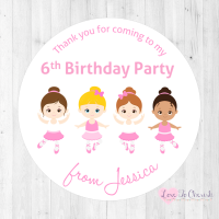 Ballerina & Friends Personalised Birthday Party Stickers