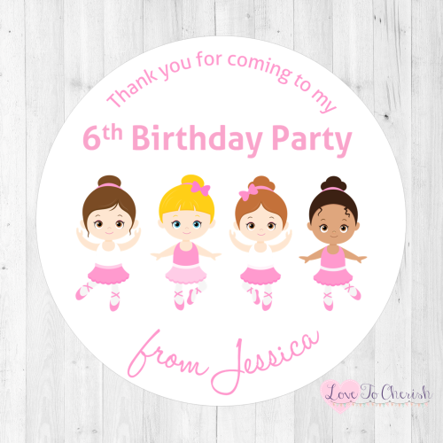 Ballerina & Friends Personalised Birthday Party Stickers | Love To Cherish