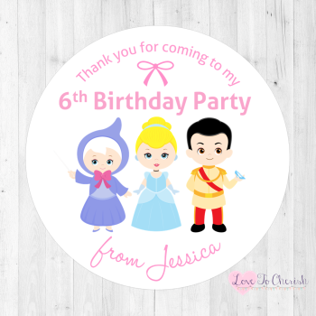 Cinderella & Fairy Godmother Personalised Birthday Party Stickers