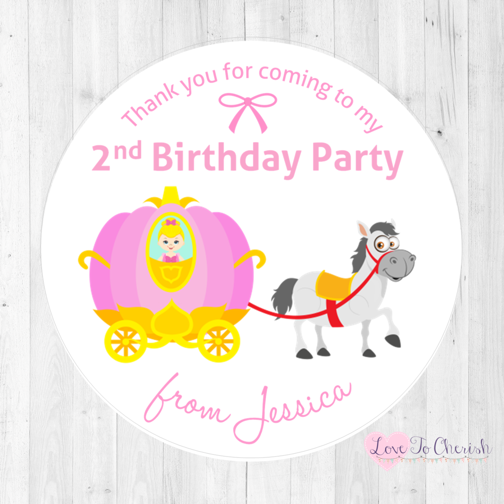 Cinderella & Pumpkin Carriage Personalised Birthday Party Stickers   Love T