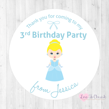 Cinderella Personalised Birthday Party Stickers
