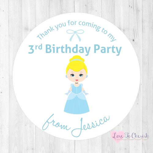 Cinderella Personalised Birthday Party Stickers | Love To Cherish