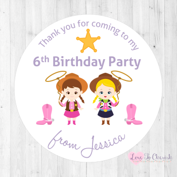 Cowgirl Friends Personalised Birthday Party Stickers