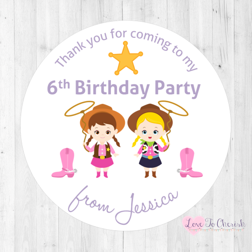 Cowgirl Friends Party Personalised Stickers