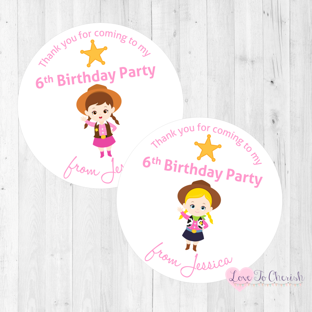 Cowgirl Sheriffs Personalised Birthday Party Stickers | Love To Cherish