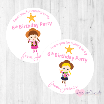 Cowgirl Sheriffs Personalised Birthday Party Stickers