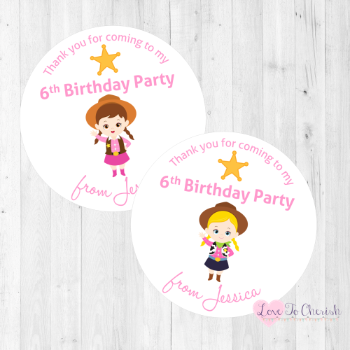 Cowgirl Sherriffs Party Personalised Stickers