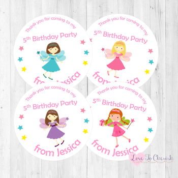 Fairy Princess Personalised Birthday Party Stickers