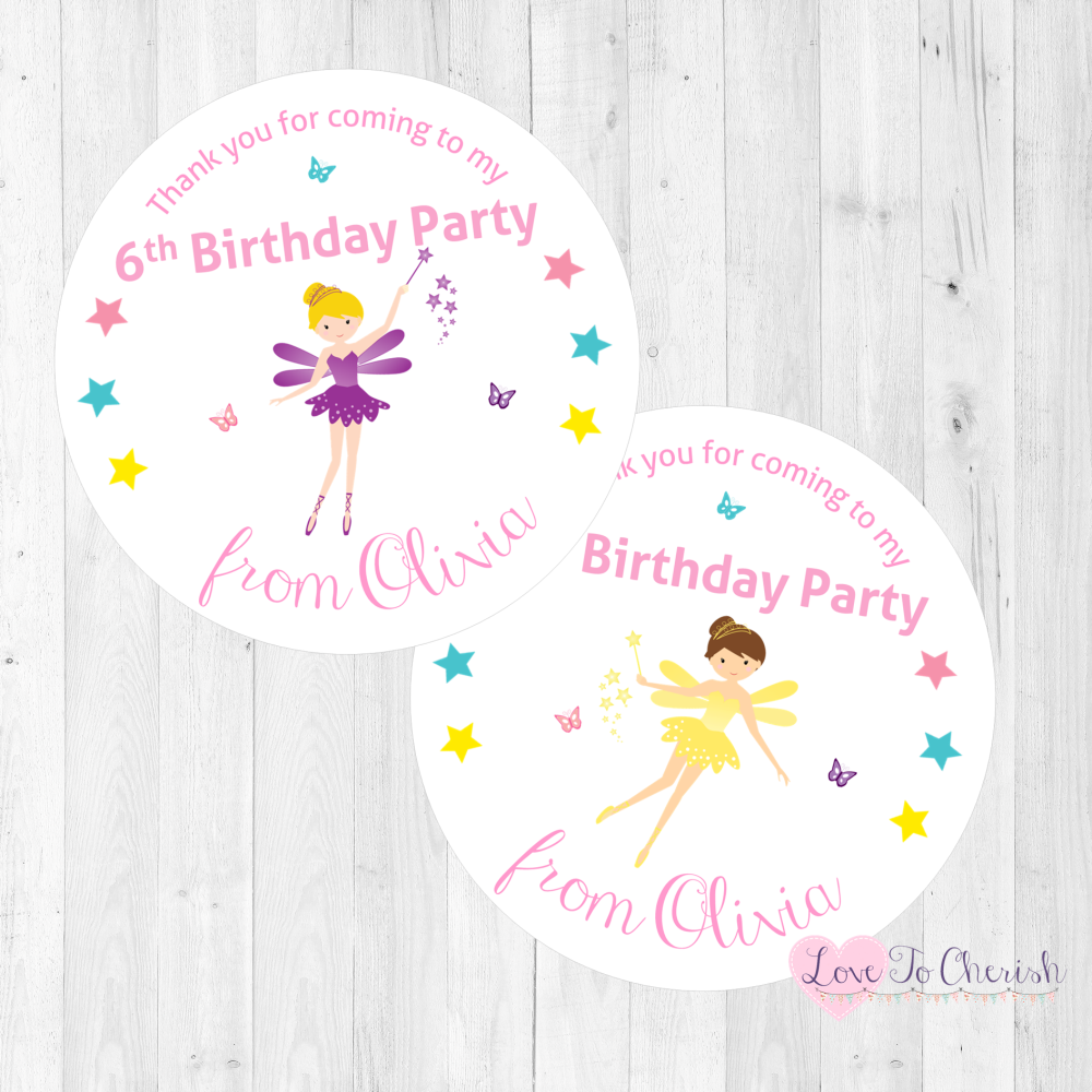 Fairy with Magical Wand Personalised Birthday Party Stickers   Love To Cher