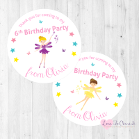 Fairy with Magical Wand Party Personalised Stickers