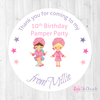 Girl's Pamper Party Personalised Birthday Stickers