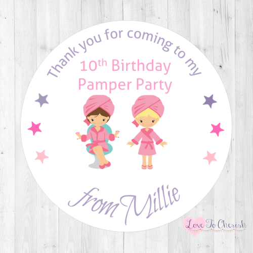 Girl's Pamper Party Personalised Birthday Stickers | Love To Cherish