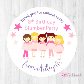 Girl's Slumber / Sleepover Friends Personalised Birthday Party Stickers