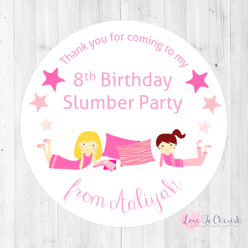 Girl's Slumber / Sleepover Party Personalised Stickers