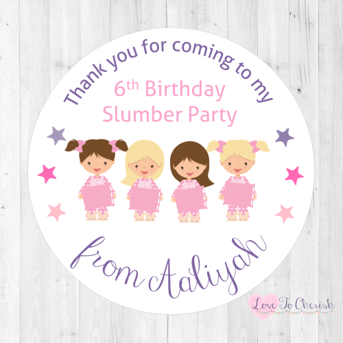Girl's Slumber Party Personalised Birthday Stickers | Love To Cherish