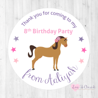 Horse Riding Personalised Birthday Party Stickers